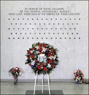 Photo of words and stars on the north wall foyer of CIA HQ Bldg, immortalizing CIA oficers who lost their lives