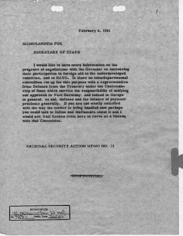 National Security Action Memorandums (NSAM) [Kennedy ...