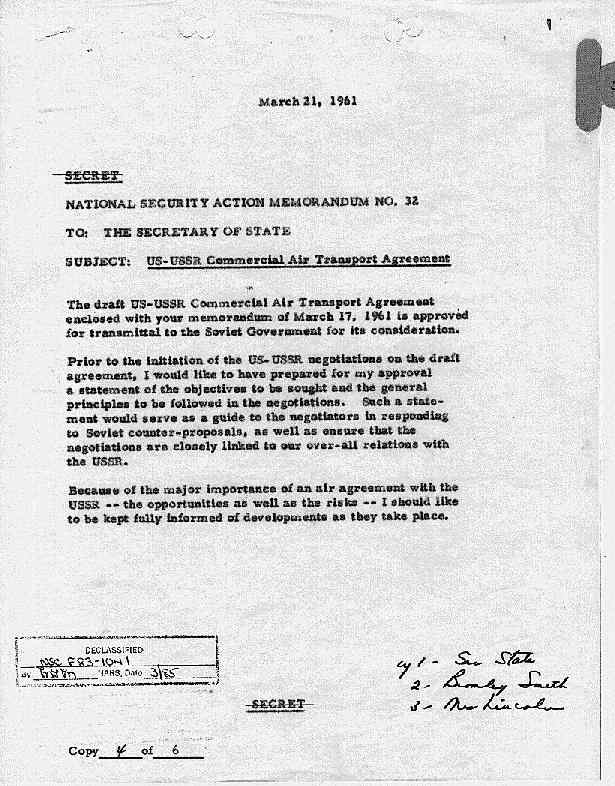 National Security Action Memorandums Nsam Kennedy Administration