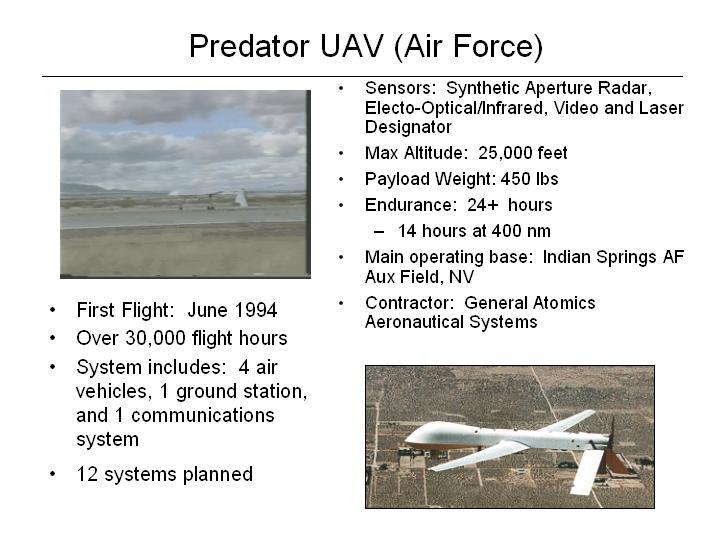 RQ-1 Predator Medium Altitude Endurance (MAE) UAV