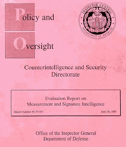 Evaluation Report on Measurement and Signature Intelligence